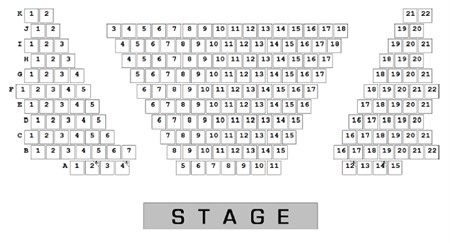 A picture of the seating plan in the Blakehay Theatre