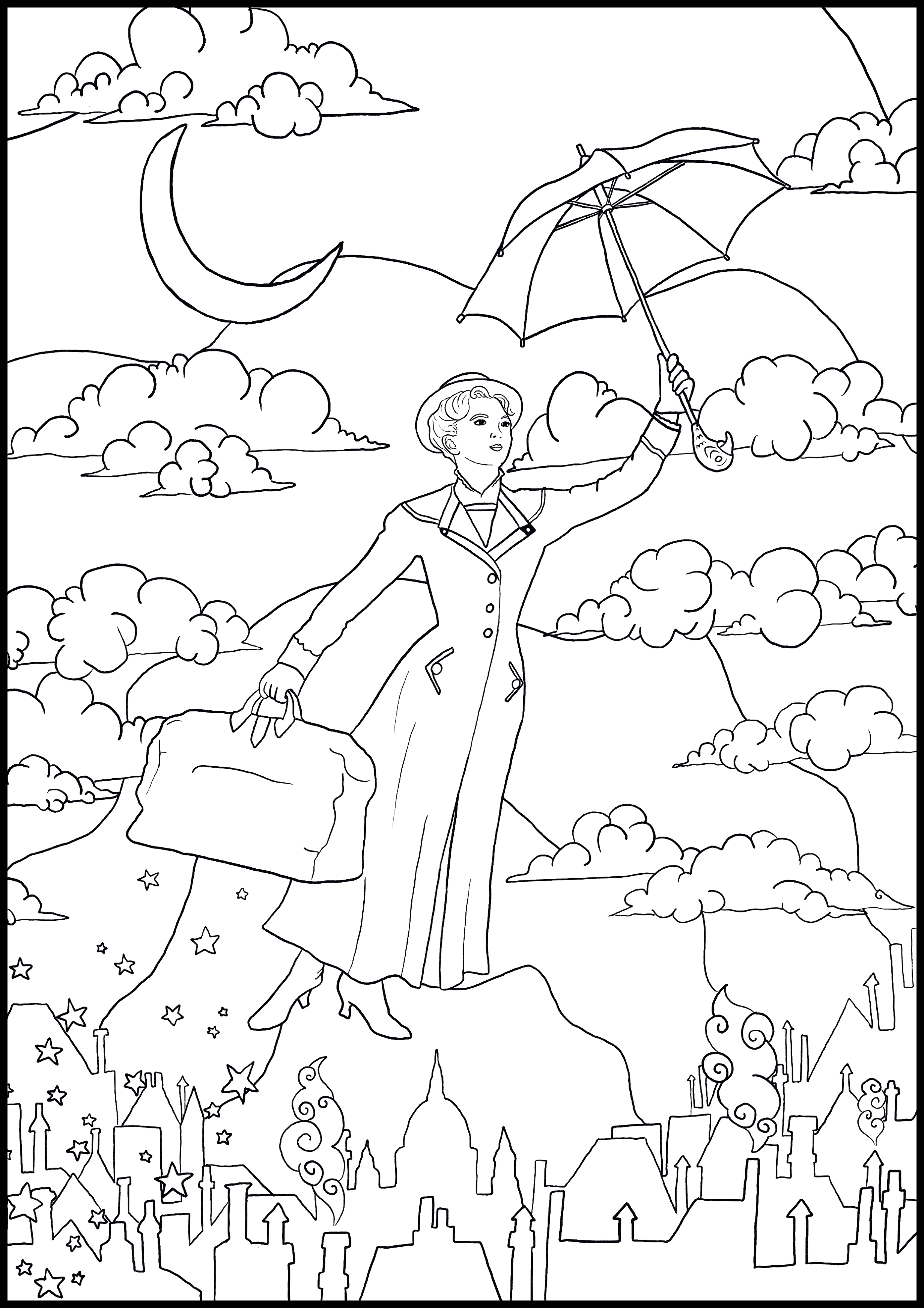 Mary Poppins Colouring In