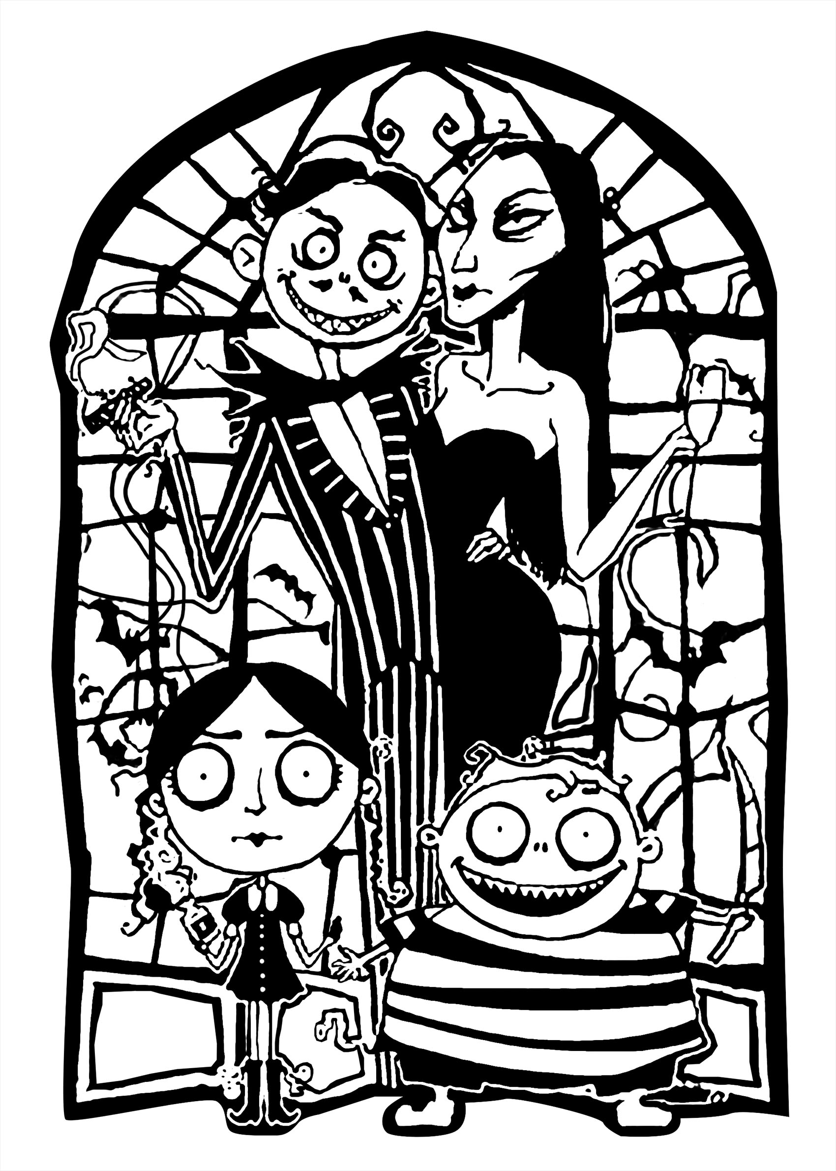 The Addams Family Colouring In