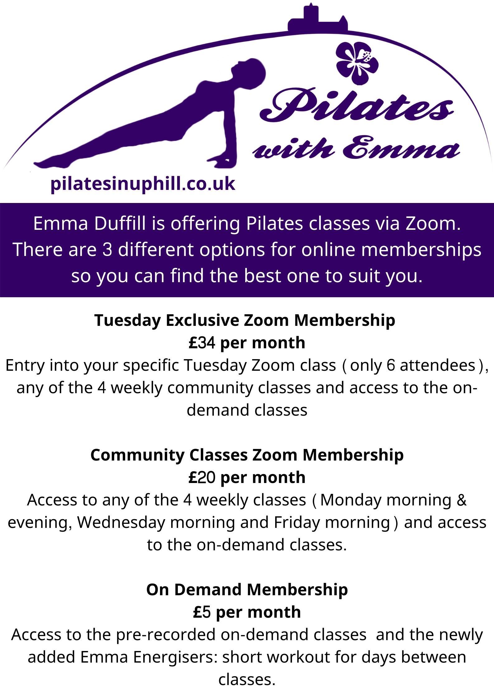 Pilates Zoom Memberships